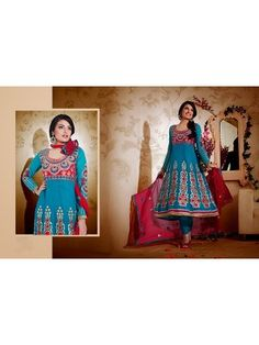 Buy Pranky Sky Blue Anarkali Churidar Suit with Dupatta 8319 online store,price,colour