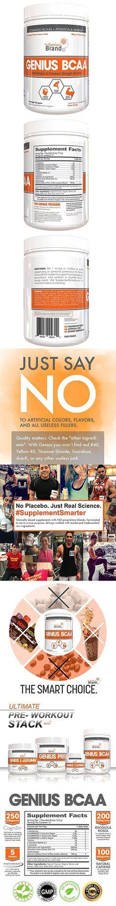 The Genius Brand Nootropic Amino Energy Powder & Brain Supplement, Orange, 21 Count