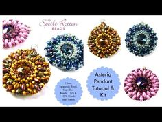 Asteria Pendant with 12mm rivoli, superduos, 11/0 and 15/0 seed beads - YouTube