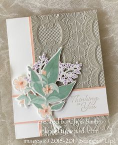 Stampin' Up! Floral Romance Suite and Lace embossing folder Arts And Crafts For Teens, Embossed Cards, Sympathy Cards, Greeting Cards, Pretty Cards, Romance, Embossing Folder, Flower Cards, Anniversary Cards