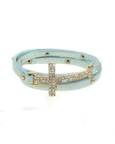 ZB0191-GOLD MINT  Iced cross thin width faux leather wrap bracelet.    -plated base metal, crystal, faux leather  -buckle closure  -length: 20""
