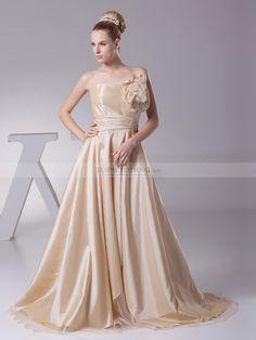 Properzia - corte a cuello recto vestido de novia de tafetán con flores