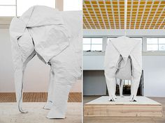 Life-sized elephant folded out of a single 50x50 sheet of paper by Sipho Mabona