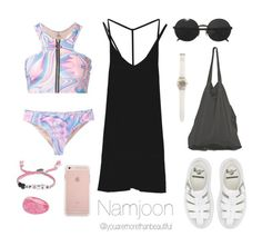 """""""Beach Outfit / BTS"""" by youaremorethanbeautiful ❤ liked on Polyvore featuring UNIF, Laneus, Aéropostale, RVCA, Venessa Arizaga, Versace, Dr. Martens and Swatch"""