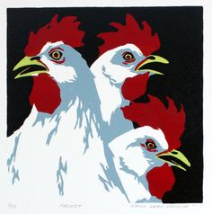 Original hand-pulled woodcut of some roosters, well, acting like roosters...    Media: Color-Reduction Woodcut  Year: 2011  Edition: 9/12  Image Size: