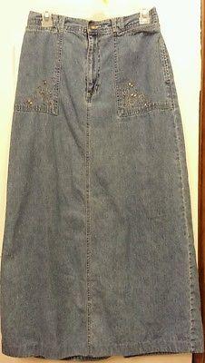 White Stag Women's Size 10 Long skirt embroidered pockets blue jean boho denim