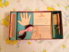 1940s Vintage Baby Brush Comb Cards Hand Cut by HoneyCultVintage, $35.00