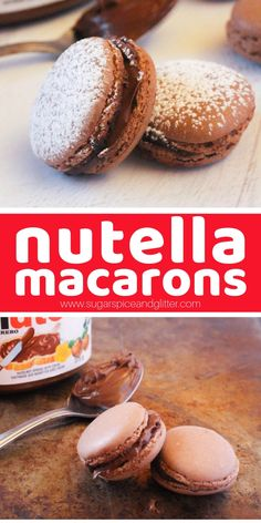 If you love Nutella, you're going to love these super simple Nutella Macarons. T… If you love Nutella, you're going to love these super simple Nutella Macarons. This easy macaron recipe has the perfect chocolate hazelnut flavor Nutella Macaroons, Macaroons Flavors, Macaroon Cookies, Nutella Cookies, Shortbread Cookies, Gourmet Recipes, Sweet Recipes, Baking Recipes, Gourmet Foods