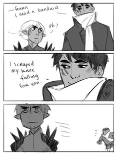 remington-zero: return of the bad g-rated pickup lines <--- Fenris and Hawke -- http://holyshitdragonage.tumblr.com/post/123132606711/remington-zero-return-of-the-bad-g-rated-pickup