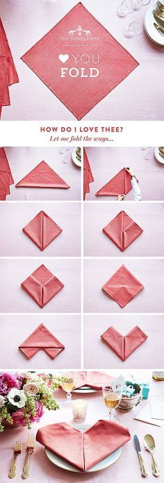 Heart napkin folding - perfect for valentines day or date night!