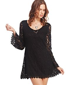 Lace Bell-Sleeve Shift Dress | Wet Seal