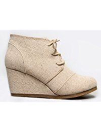 57c0710bc84a3 Wedge Ankle Boot - Low Heel Bootie - Casual Comfortable Lace Up Heel -  Fashion Short Heeled Women s Bootie