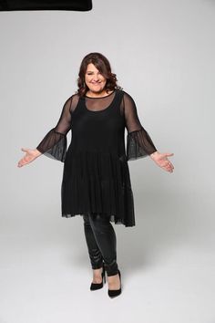 df4e6fe3054 Katerina Zarifi in a very feminine Mat. Tulle dress and leather-like pants  by Mat. fashion Real Size Plus Size Fashion
