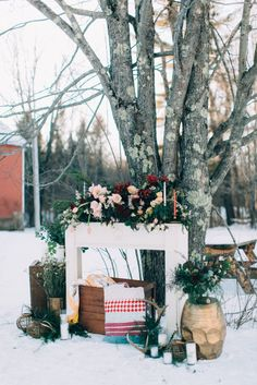 Winter wedding decor: http://www.stylemepretty.com/2015/02/12/cozy-country-valentines-wedding-inspiration/ | Photography: Emily Delamater - http://emilydelamater.com/