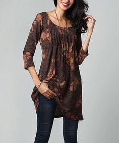 Reborn Collection Brown Floral Pin-Tuck Empire-Waist Tunic Dress | zulily