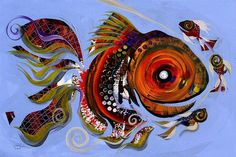 An online gallery of original fish art, abstract paintings, modern art, drawings and prints. The official website and artwork of J. Famous Fish, Water Fairy, Different Fish, Two Fish, Cat Colors, Fish Art, Goldfish, Mixed Media Art, Modern Art