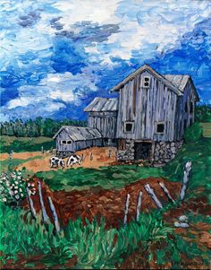 "Canvas PRINT Acrylic Painting 8X10 Country Landscape,Old barn ""Headquarters"""