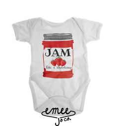 Jam like a strawberry! Our hand drawn mason jar has a water color texture throughout. The jam label features water color text with the words JAM above tiny strawberries. ORDERING If youd like to customize the ink colors, let us know at checkout by referring to our color chart OUR PROCESS All designs are hand made, one by one. We print each one as theyre ordered and put a ton of love into them from start to finish. Wed like to thank each and every one of you for making Emee Jo Co. what it is…