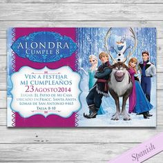 Frozen Invitacion Español - Frozen Party Invitation-  Personalizada para Imprimir - Elsa & Anna Custom Printable Invite - Disney - Spanish by DsInvitations on Etsy