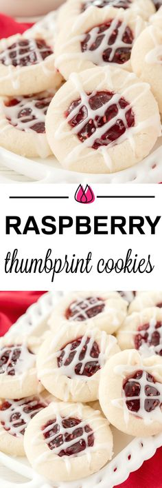 Your holiday cookie plate won't be complete unless you have these easy Raspberry Thumbprint Cookies with buttery shortbread, almond flavoring and glaze. They look festive too! by Gloria Jean Best Dessert Recipes, Easy Desserts, Holiday Recipes, Delicious Desserts, Christmas Recipes, Quick Dessert, Simple Dessert, Sweet Desserts, Healthy Desserts