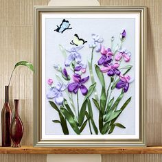3D Modern Orchids Painting DIY Ribbon Embroidery Needlework Set Bedroom Decoration Flower Series Handwork Crafts