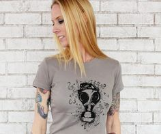 Gas Mask T Shirt in Warm Grey, Ladies, Women, Screenprinted tshirt, Hand Printed, War, Post Apocalyptic, Short Sleeved, Hand Printed on Etsy, $20.00
