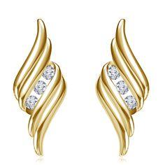 14K Gold Plated 925 Sterling Silver Fashionable Stud Earring For Women (Yellow). Starting at $5 14k Earrings, Fancy Earrings, Gold Earrings Designs, Diamond Hoop Earrings, Girls Earrings, Gold Plated Earrings, Fashion Earrings, Sterling Silver Earrings, 925 Silver