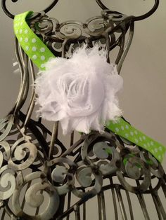 Lime green and white headband, white shabby chic flower on a green and white…