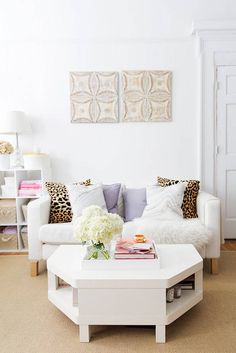 Discover studio apartment ideas like turning one room into three different rooms. See how Dria Murphy, Founder of Alise Collective, turned her studio into a home office, a living room and a cozy sleeping nook. For more small space ideas visit Domino. Apartment Decoration, Studio Apartment Decorating, Apartment Ideas, Apartment Layout, Apartment Interior, White Studio Apartment, Studio Apartment Furniture, Apartment Design, Living Room Sofa