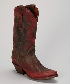 Look what I found on #zulily! Dan Post Chocolate & Red Amy Leather Cowboy Boot by Dan Post #zulilyfinds