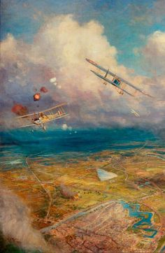 Aerial View of the Western Front, No.4, by William Lionel Wylie, painted in 1919.