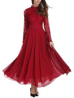 Lace Contrast Mesh Pleated High Waist Dress