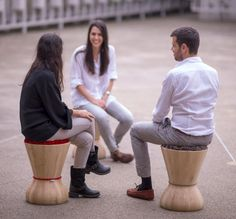 Portuguese furniture brand Two.Six have designed Swithy, a smooth wooden sculpture that can be used as a stool or side table.