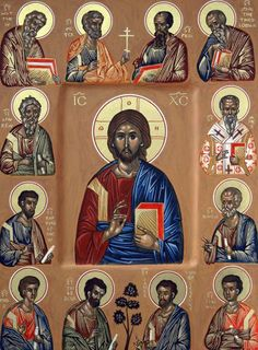 The Synaxis of the Twelve Apostles, with our Lord, Jesus Christ, at the centre. Religious Images, Religious Icons, Religious Art, Byzantine Art, Byzantine Icons, Catholic Prayers, Catholic Saints, Christus Pantokrator, Roman Church