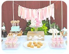 "Scrap fabric garland - perfect backdrop to this ""Sugar and Spice"" party! #shabbychic #partyidea #sugarandspice"
