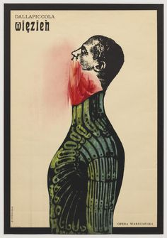 Roman Cieslewicz - Wiezien | Poster for Warsaw production of the 1944 opera by Luigi Dallapiccola, 1962