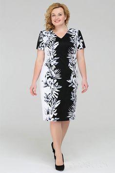 Платье Теллура-Л 1214 чёрный+белый принт