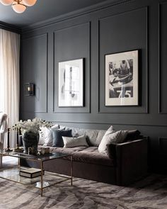 Despite a modest area of sqm, the designers were not afraid to use a rather dark color scheme as the basis for the design of this one-bedroom ✌Pufikhomes - source of home inspiration Dark Living Rooms, Living Room Interior, Home Living Room, Home Interior Design, Living Room Designs, Living Room Decor, Living Room Wall Lighting, Black Living Room Furniture, Interior Walls