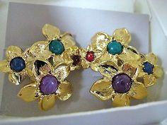 Vintage Avon Flower Earrings Nib Clip On Modern Bouquet Multi Color Stones