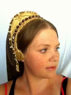 "French Hood  ""Katherine Parr,"" English Renaissance Tudor, one size - Made to Order"