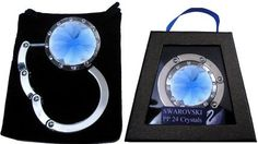 Silver & Blue with Swarovski Crystal FOLDING Purse Hook with Gift Box and Pouch