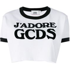 Gcds logo cropped T-shirt ($115) ❤ liked on Polyvore featuring tops, t-shirts, white, logo tees, crop top, white tee, white cotton tee and cut-out crop tops