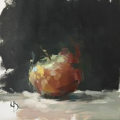Off the easel today. Untitled Apple, 8×8″, Oil on fine canvas board. Just possibly the last Still Life for a while, as I try and get back to painting people/interiors/street life, etc.