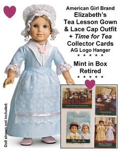 NIGHT CAP REPRODUCTION American Girl FELICITY Retired WHITE LACE NIGHT SHIFT