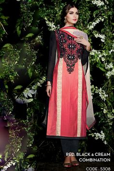 Kimora Heer 5308 - Red and Black Cotton Satin Designer Suit Latest Salwar Suits, Latest Salwar Kameez, Cotton Salwar Kameez, Churidar Suits, Kurti, Indian Dresses, Indian Outfits, Indian Clothes, Salwar Kameez Online Shopping