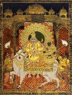 Shiva and Parvati on Nandi, Tanjore style, c. Mysore Painting, Tanjore Painting, Indian Gods, Indian Art, Scratchboard Art, Wonder Art, Om Namah Shivaya, Antique Paint, Hindu Art