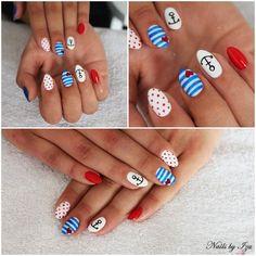 Marine nails made by Iza Kuczyńska Semilac: 039 Aztec Nails, Chevron Nails, Blue Nails, Fancy Nails, Pretty Nails, July 4th Nails Designs, Sailor Nails, Marine Nails, Diamond Cosmetics