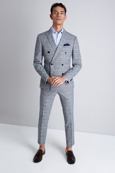 This Moss London suit comes in a modern Skinny Fit cut, and has a bold twisted check design Western Formal Wear, Double Breasted Suit Men, Black Suit Wedding, Wedding Dresses Men Indian, Checked Suit, Mens Fashion Blazer, Corporate Attire, Formal Suits, Tuxedo For Men