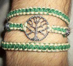 Hemp Bracelet with Talisman  Celtic Tree of Life Wrap Hemp Bracelet Hemp Jewelry by psysub