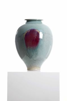 Brother Thomas  Vase, tender green celadon with copper red